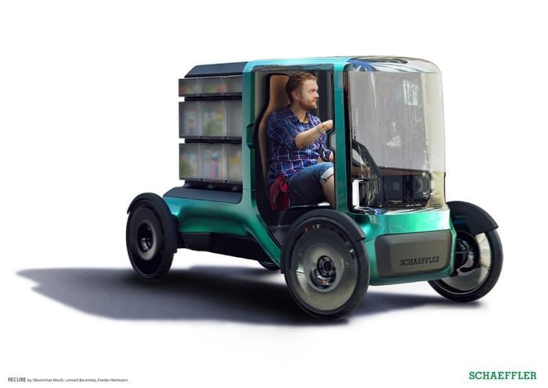 Das RECUBE-Auslieferungsfahrzeug.