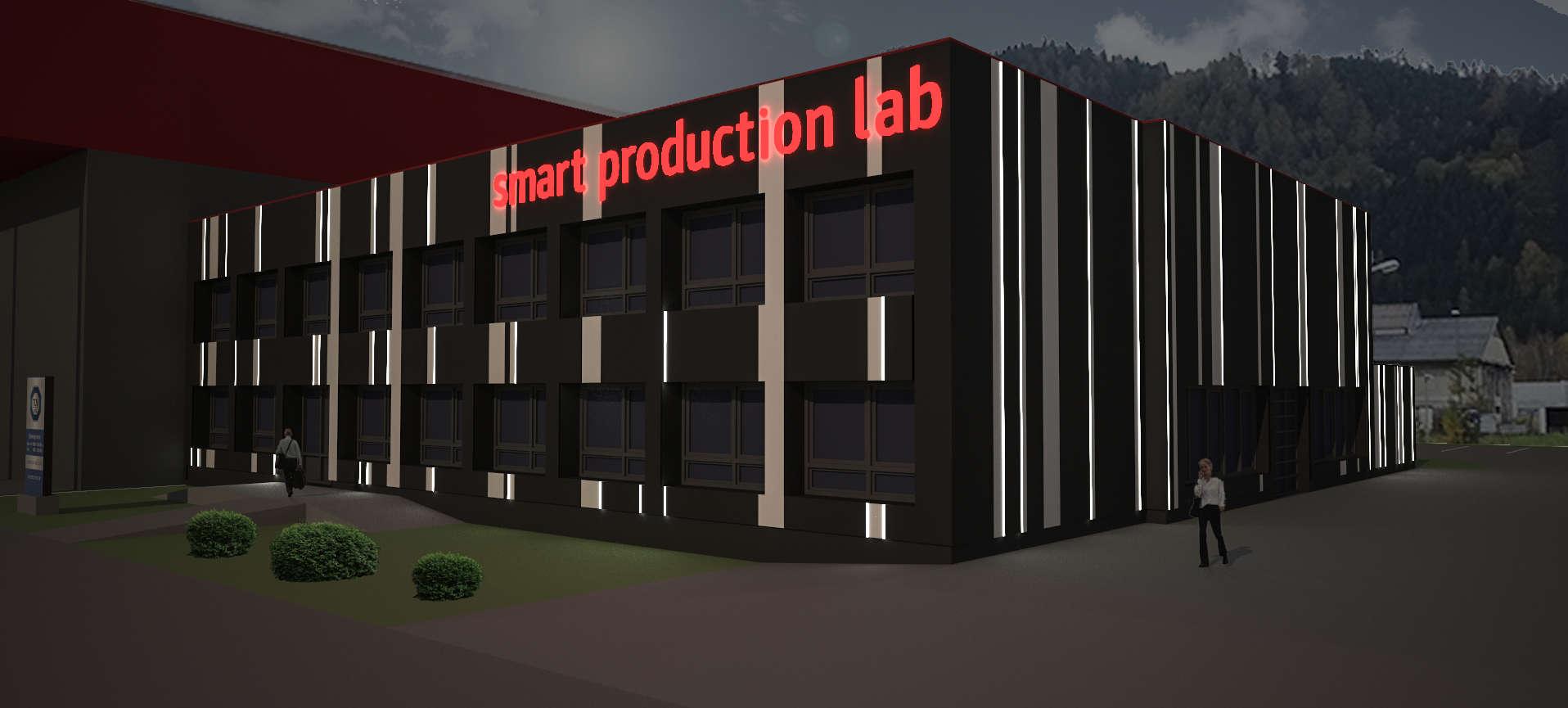 Das Smart Production Lab wird nachts beleuchtet.