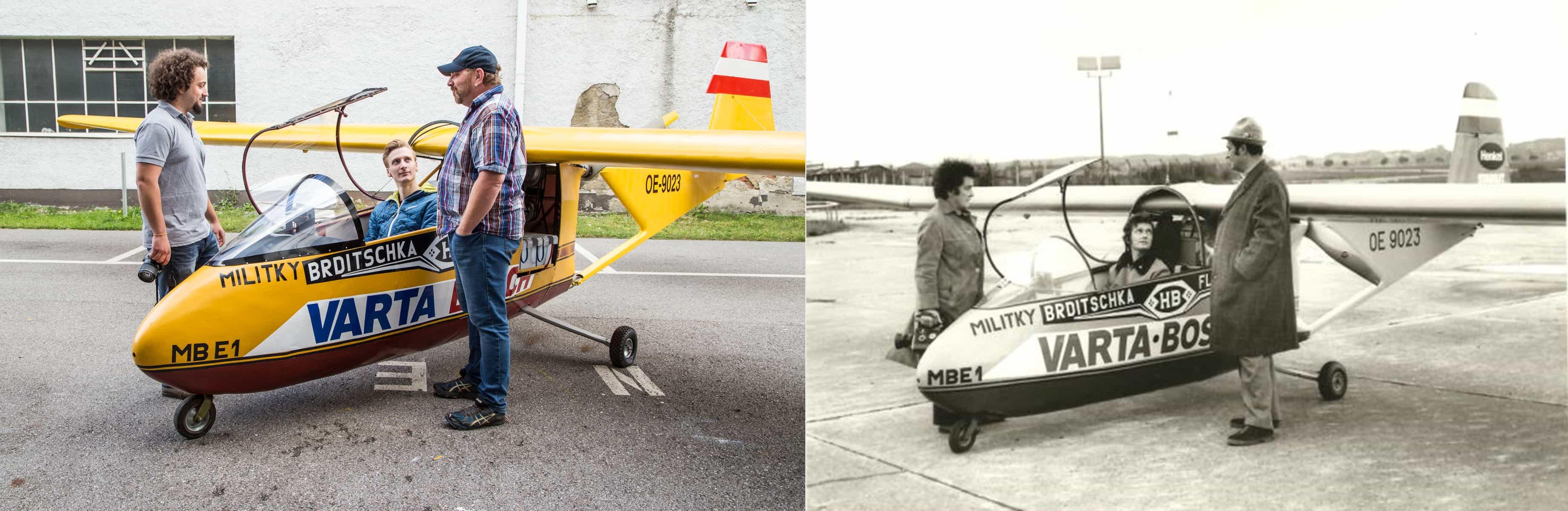 Die Studierenden stellen auf der linken Seite das Foto von 1973 auf der rechten Seite nach, auf dem drei Personen und das Flugzeug abgebildet sind.