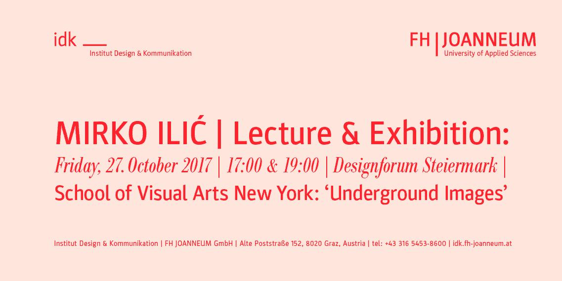 Einladung zur Lecture & Exhibition von Mirko Ilic