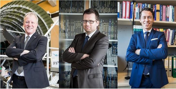 Porträtbilder der drei neuen Studiengangsleiter der FH JOANNEUM Holger Friehmelt, Wolfgang Granigg und Michael Murg.
