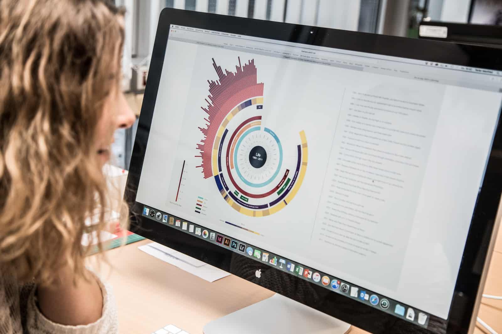 Studierende vor einem Computerbildschirm mit einer visualisierten Datengrafik.