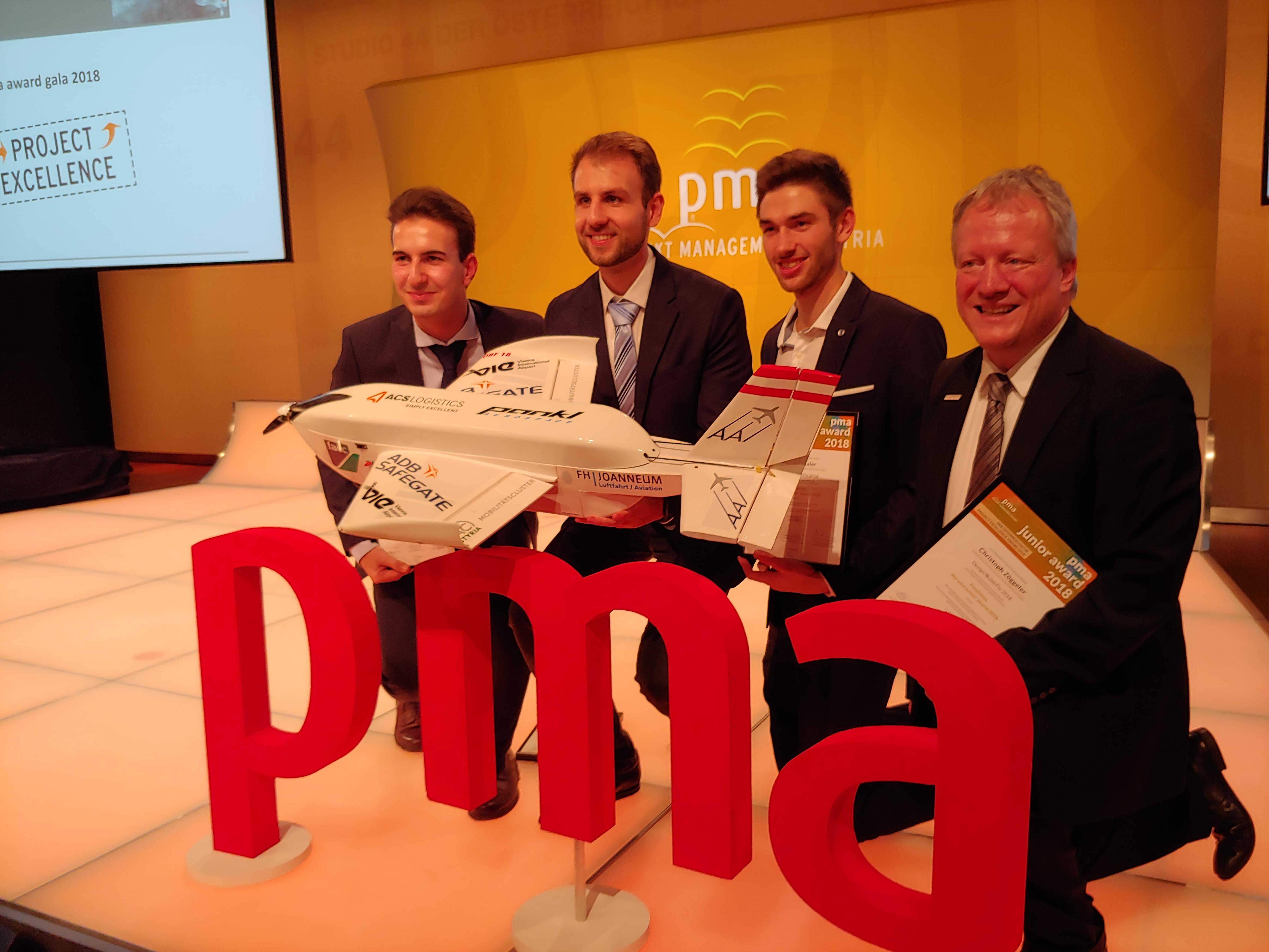 Die Studierenden von joanneum Aeronautics erreichten mit ihrem Projekt den dritten Platz bei den pma junior awards 2018.
