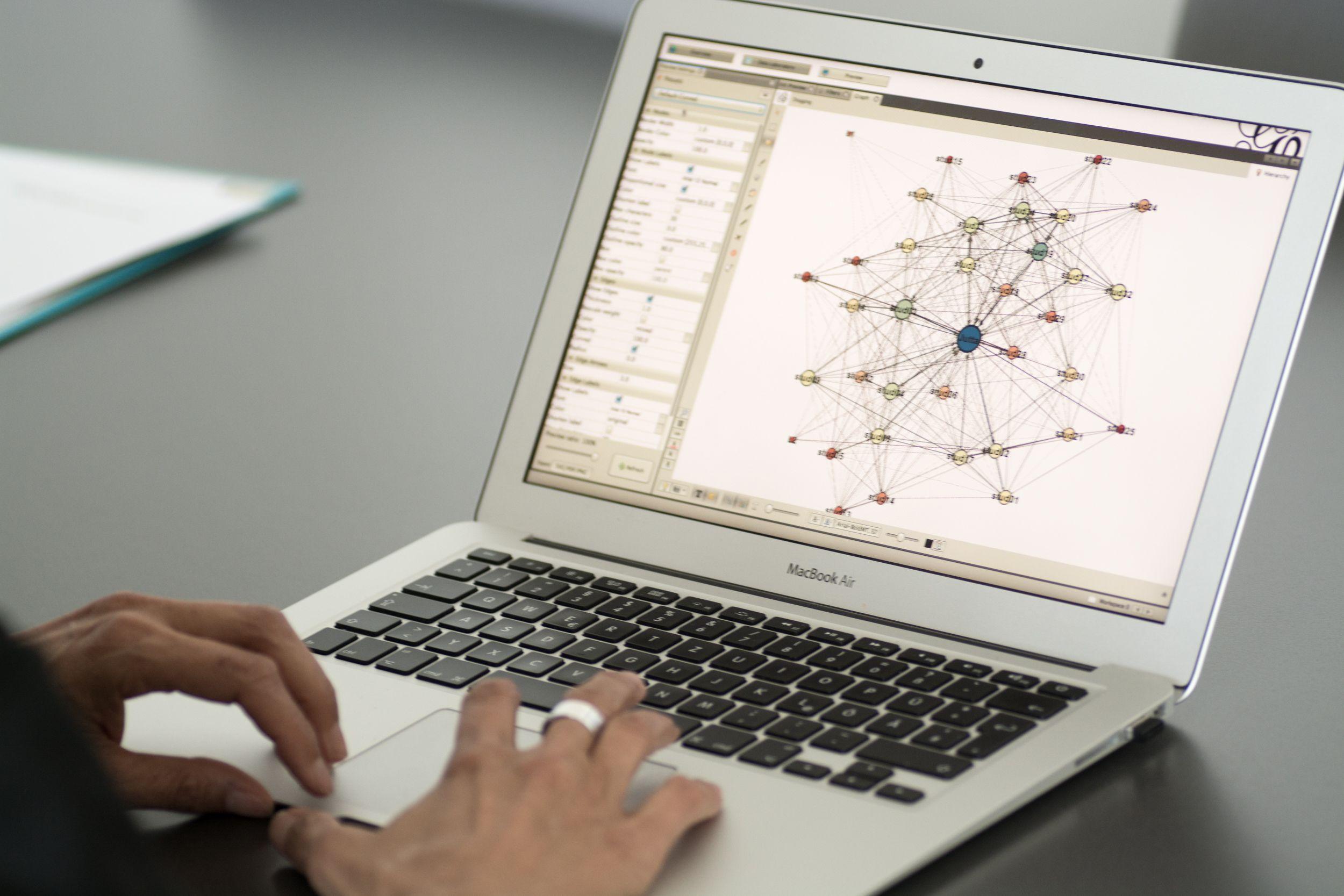 Computerbildschirm mit Netzwerk.