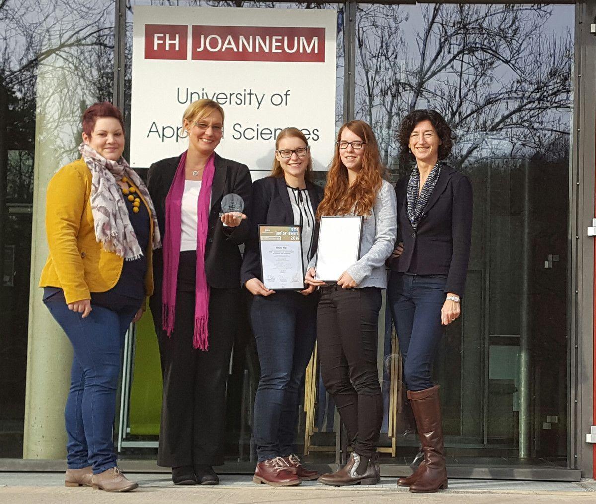 Kathrin Hofer, Karin Gebhardt, Simone Vogl, Lena Neureiter, Eva Adamer-König - alle vom Institut Gesundheits- und Tourismusmanagment (© FH JOANNEUM)