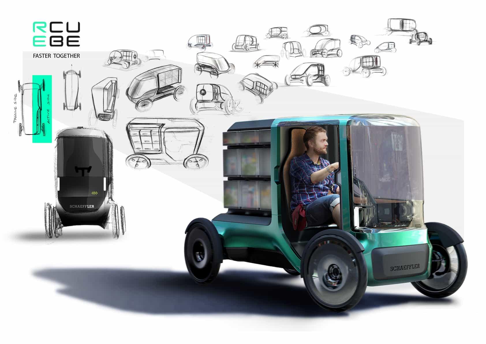 Skizzen eines Autos im Hintergrund und das engültige Fahrzeug im Vordergrund.
