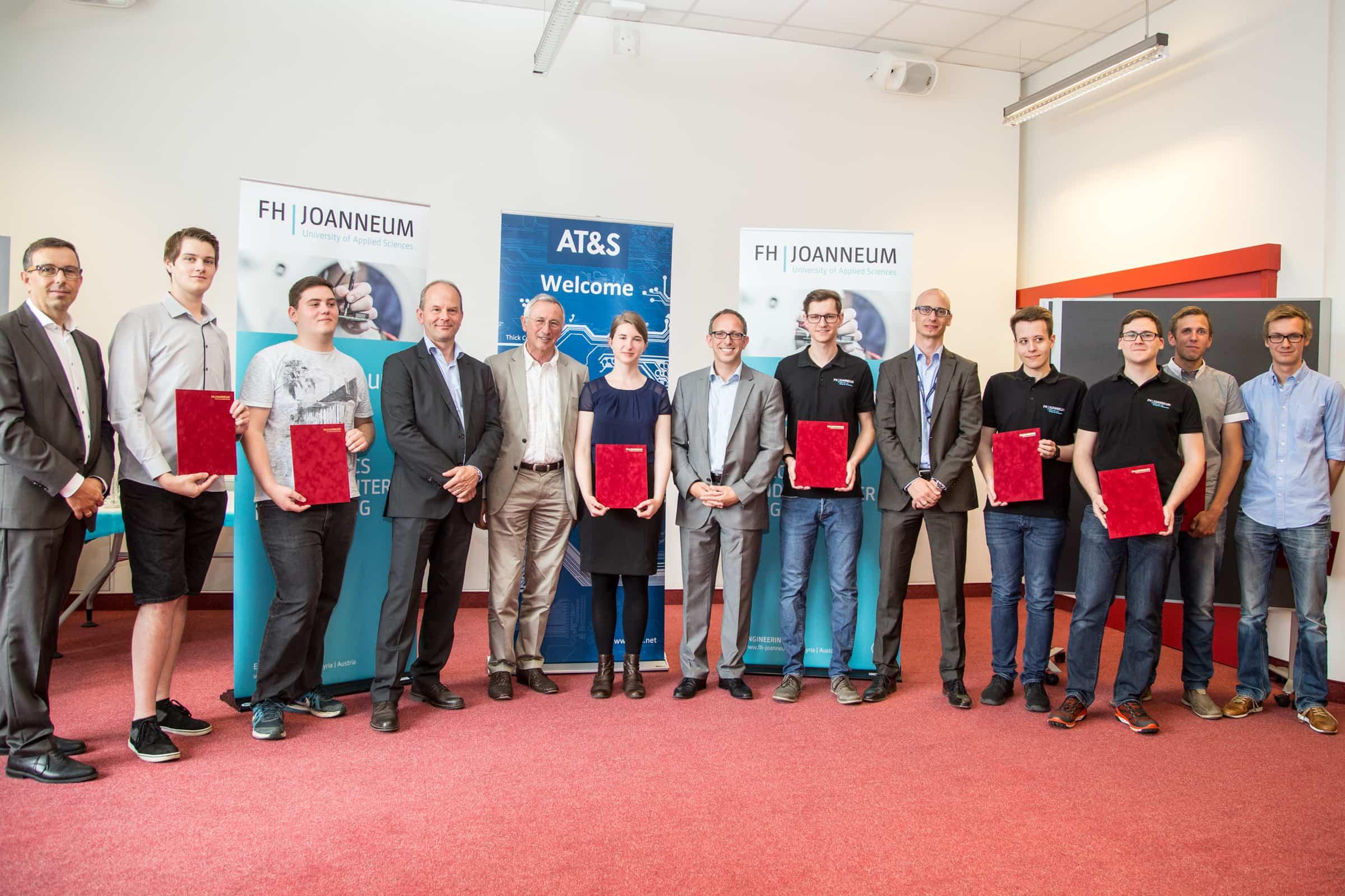 Die Preisträger mit Verantworlichen von AT&S und der FH JOANNEUM