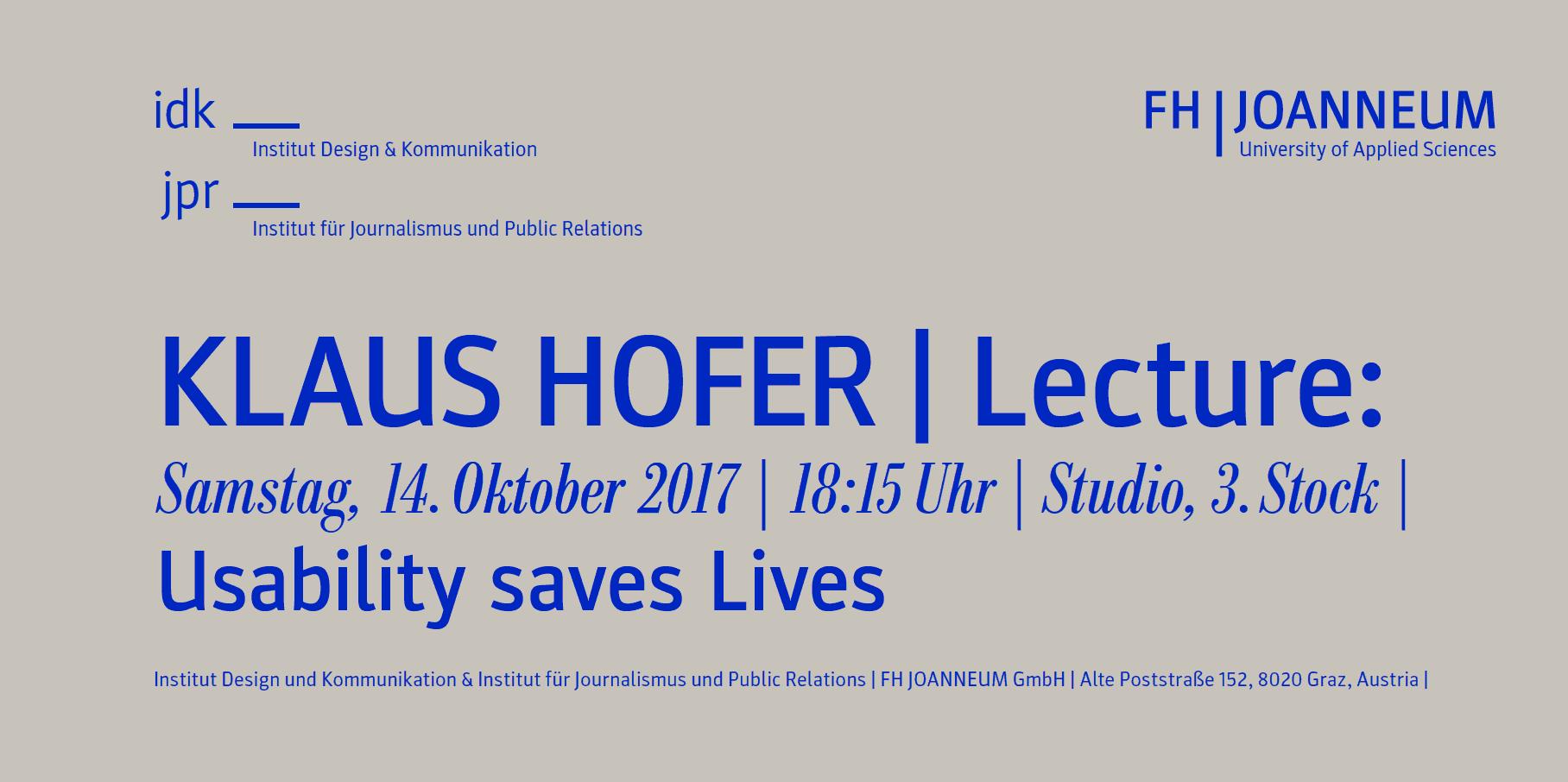 Einladung zur Lecture von Klaus Hofer
