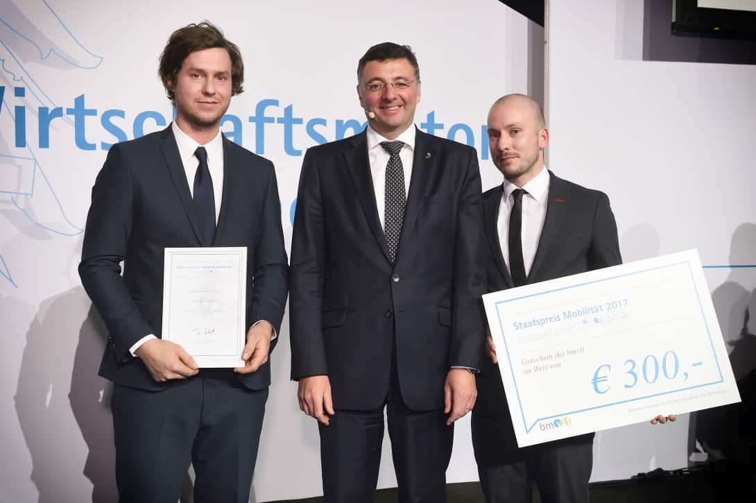 Von links nach rechts: Manuel Gerstenbrand, Jörg Leichtfried, Bundesminister für Verkehr, Innovation und Technologie und Reinhard Puffing.