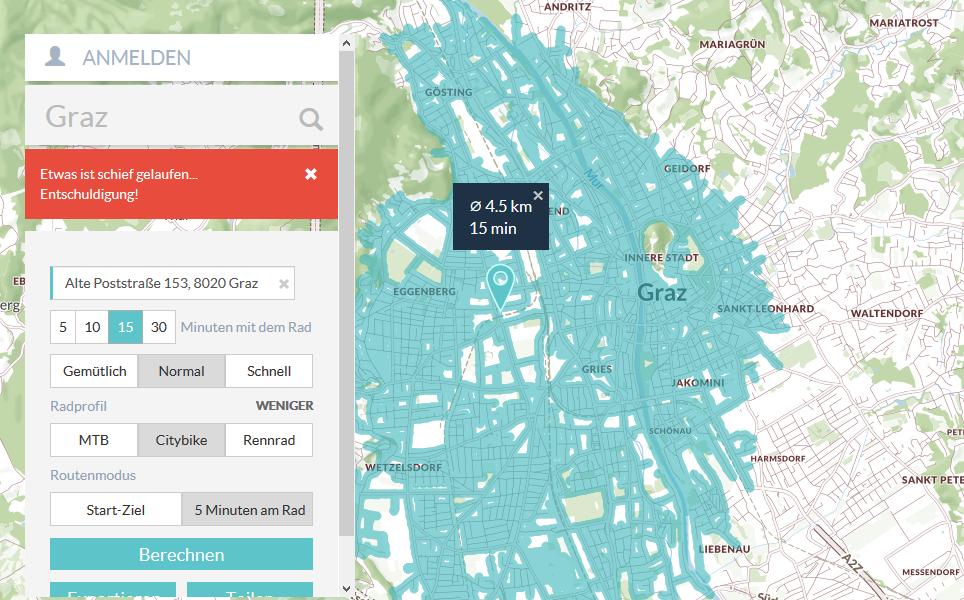 Ein Großteil des Stadtgebiets ist innerhalb von 15 Minuten von der FH JOANNEUM erreichbar.