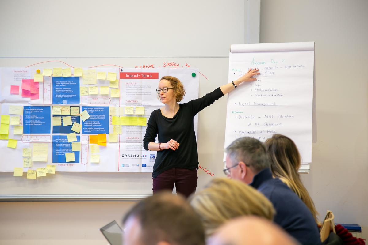 Projektleiterin Helga Moser präsentierte den Teilnehmerinnen und Teilnehmern das weitere Vorgehen im Projekt.